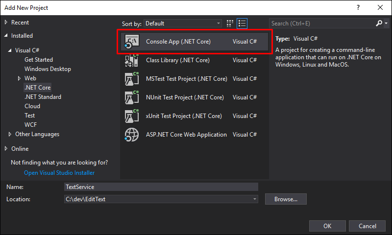 Create a new TextService Console App (.NET Core) project