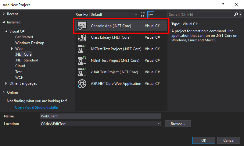 Create a new WebClient Console App (.NET Core) project